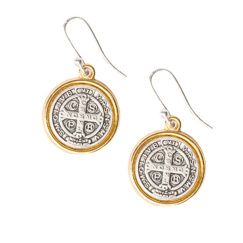 Benedictine Blessing Gold Rim Earrings-My Saint My Hero-Howard's Diamond Center