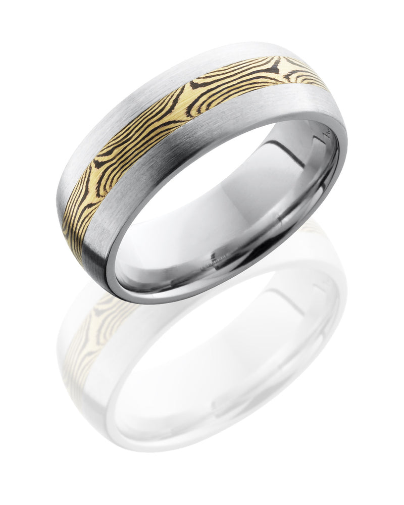 Cobalt Chrome 8mm Band with 18K Yellow Gold and Shakudo Mokume Gane Inlay-Lashbrook-Howard's Diamond Center