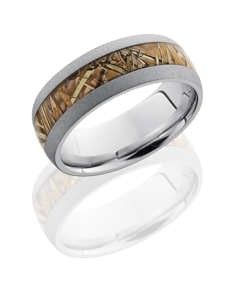 Cobalt Chrome 8mm Domed Band with King's Field Camo Inlay-Lashbrook-Howard's Diamond Center