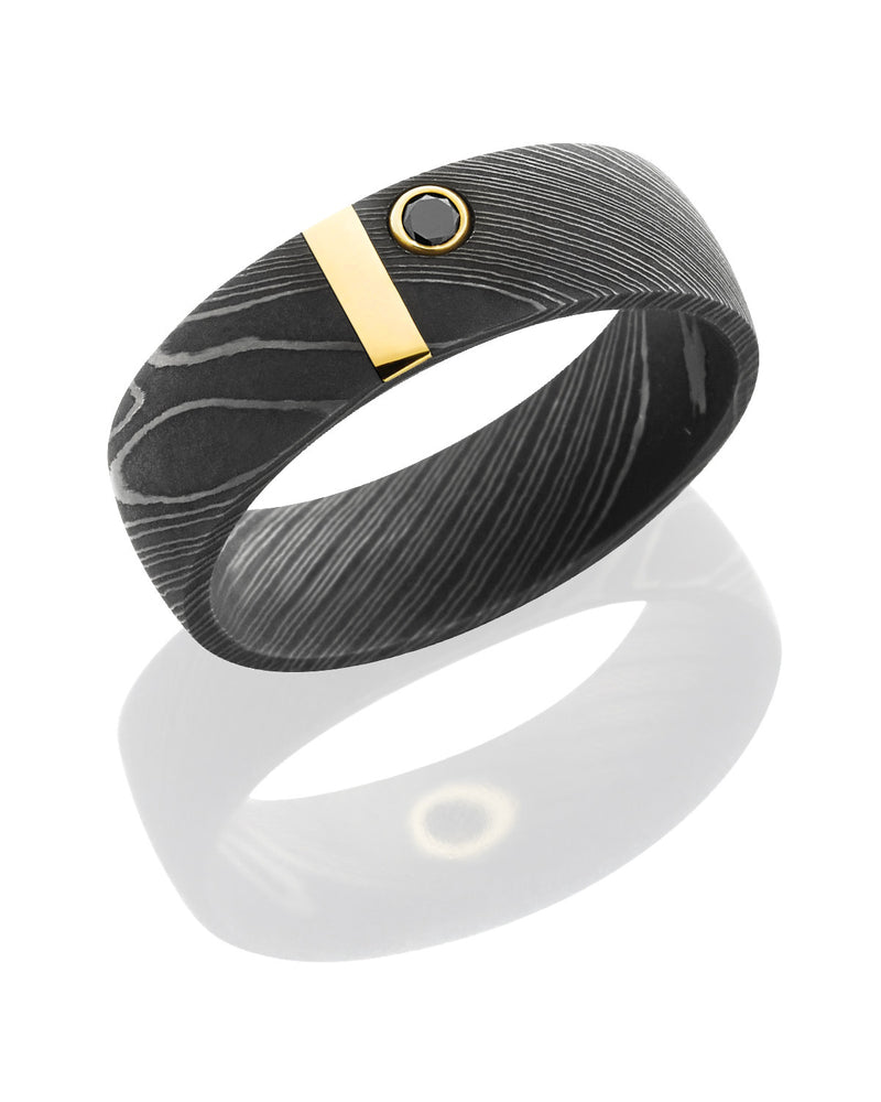Damascus Steel Band with 14K Yellow Gold Vertical Stripe and Black Diamond-Lashbrook-Howard's Diamond Center