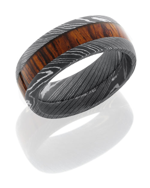 Damascus Steel 9mm Band with Mexican Cocobollo Wood Inlay-Lashbrook-Howard's Diamond Center