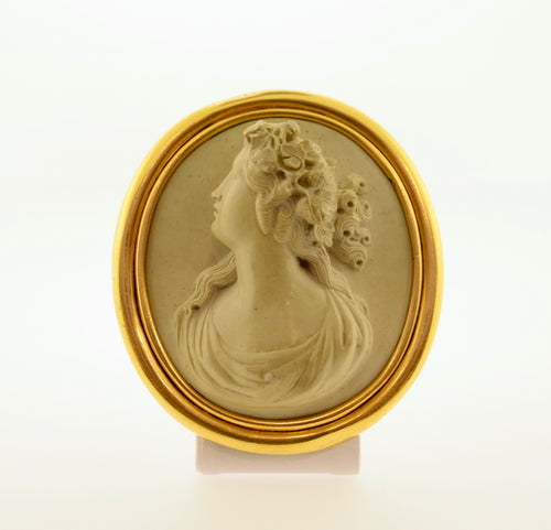Antique Oval Lava High Relief Cameo Gold Brooch