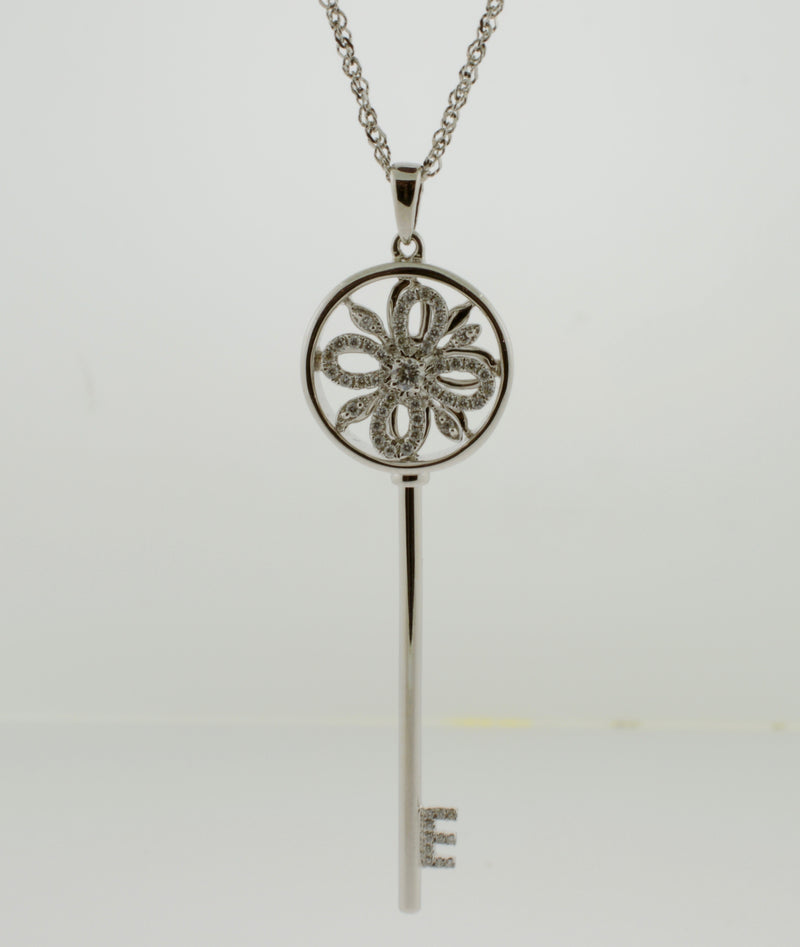 White Gold and Diamond Spinner Key Necklace