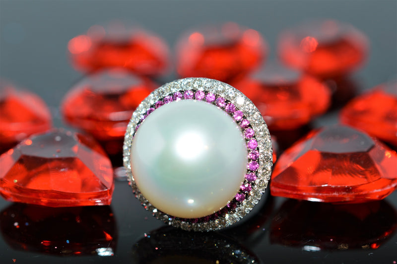 18K Pearl, Diamond and Ruby Ring