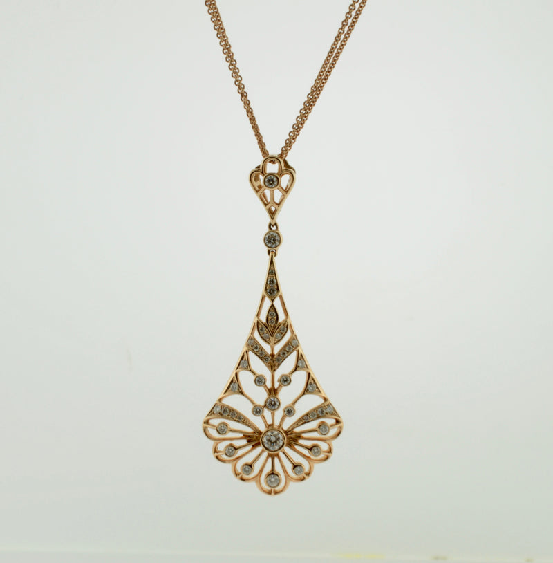 Rose Gold Diamond Filagree Antique Style Necklace