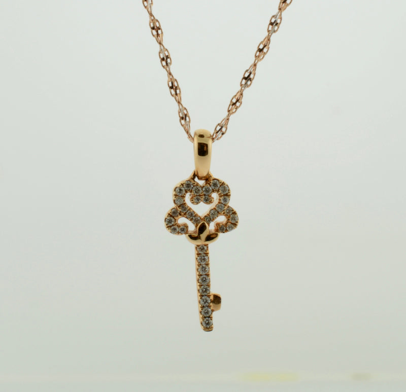 Rose Gold Diamond Key Necklace