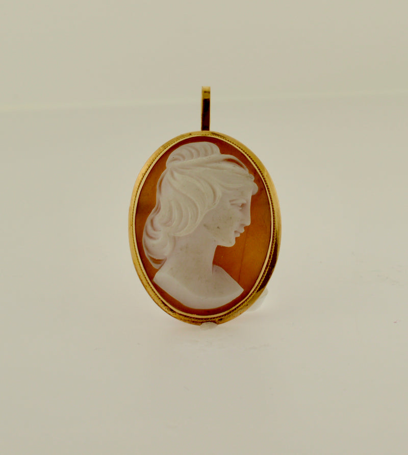 Antique Shell Cameo Gold Brooch/Pendant