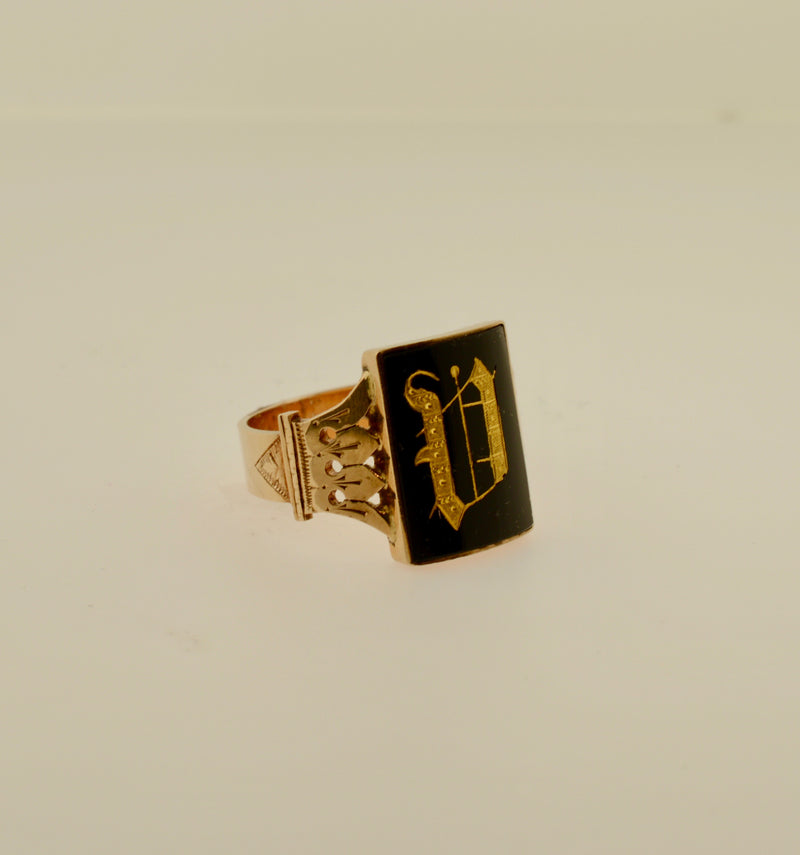 Men's Onyx Initial Gold Ring