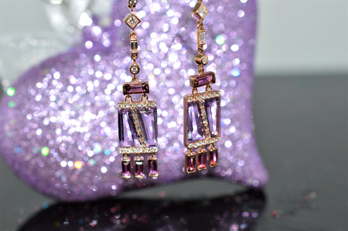 14K Rose Gold Amethyst and Pink Tourmaline Deco Earrings