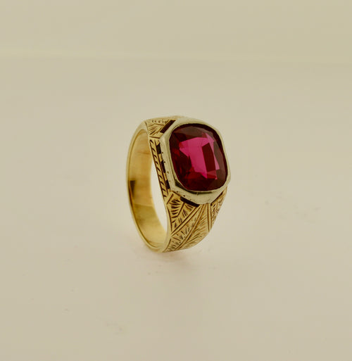Men's Two Tone Engraved Ring with Synthetic Red Stone
