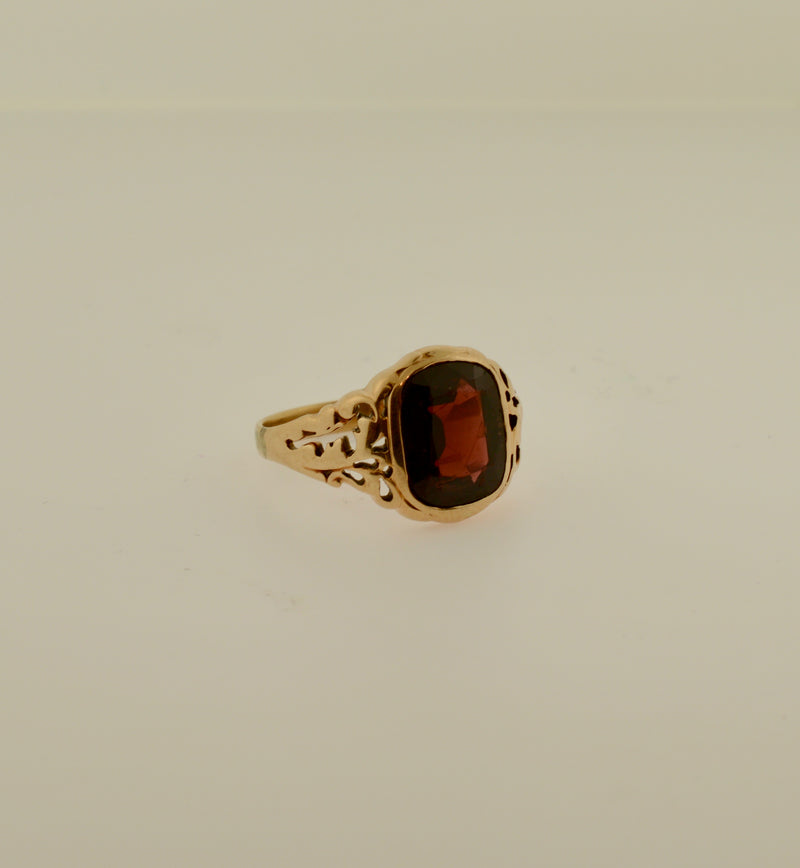 Men's Rose Gold Ring with Red Glass Stone