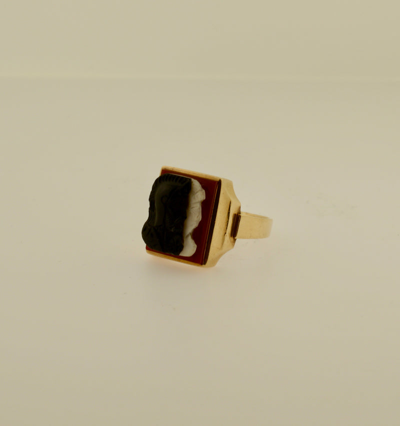 Men's Three Stone Warrior Cameo Gold Ring