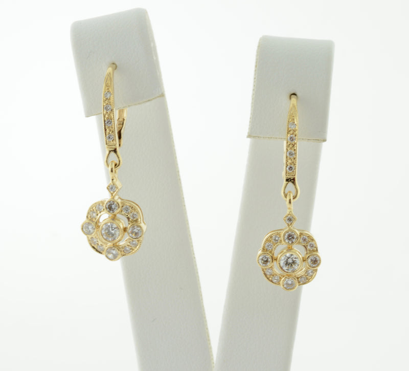Art Deco Inspired Diamond and Yellow Gold Earrings
