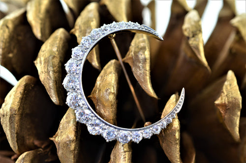 Platinum Topped 14K Yellow Gold Victorian Diamond Crescent Brooch