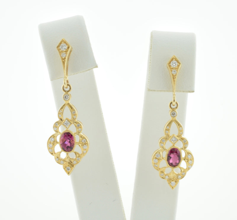 Pink Tourmaline and Diamond Gold Drop Earrings