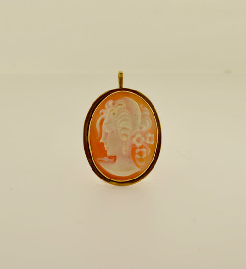 Oval Shell Cameo Gold Brooch