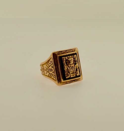Men's Onyx Aztec Gold Ring