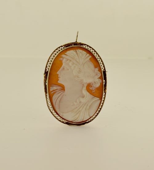 Antique Shell Cameo Two Tone Gold Brooch/Pendant
