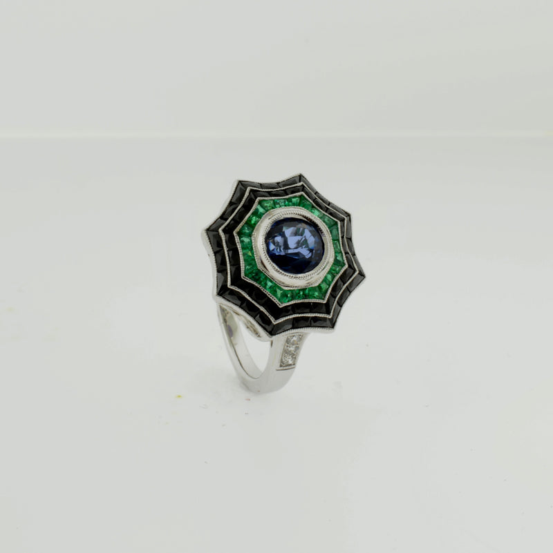 Art Deco Inspired Spider Web Ring with Sapphire, Diamond, Emerald, and Black Onyx