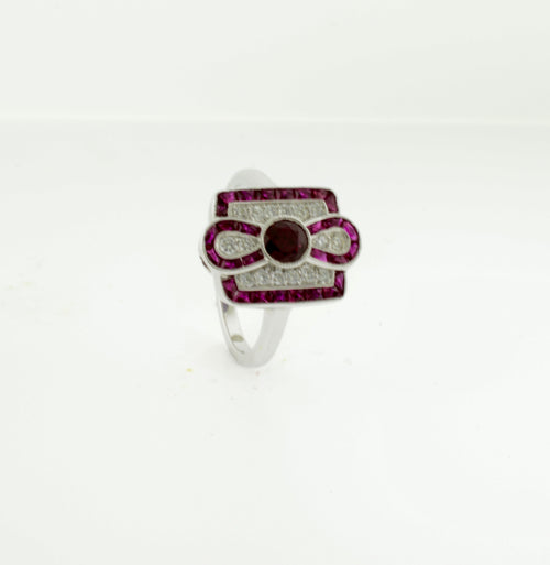 Ruby and Diamond Infinity Style Art Deco Inspired Ring