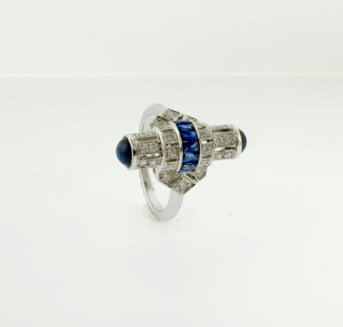 Sapphire and Diamond Art Deco Inspired Bullet Style White Gold Ring