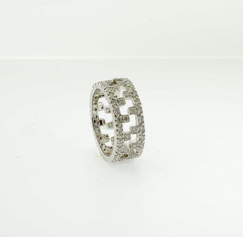 Interlocking Diamond White Gold Eternity Bands