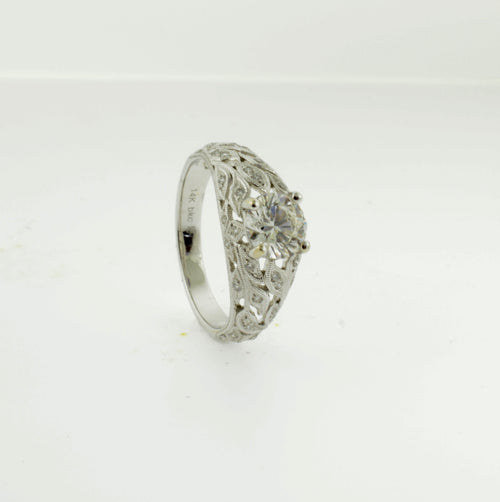 Diamond Engagement Ring with Antique Vine Inspired Band