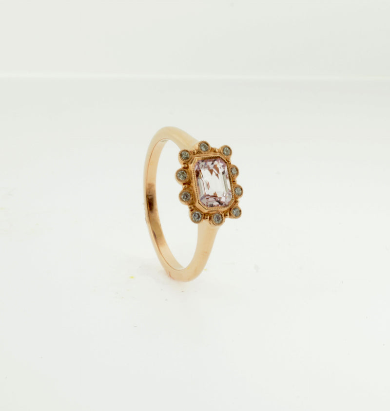 Rose Gold Emerald Cut Morganite and Diamond Ring