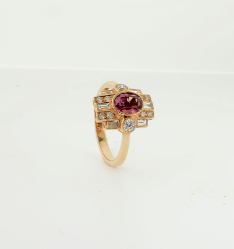 Rose Gold Pink Tourmaline and Diamond Art Deco Inspired Ring