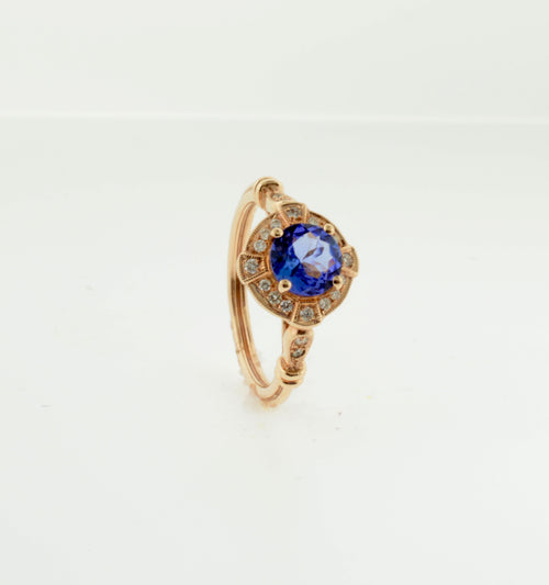Rose Gold Tanzanite and Diamond Art Deco Inspired Ring