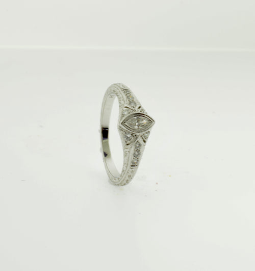 Antique Style Marquise Cut Diamond Engagement Ring
