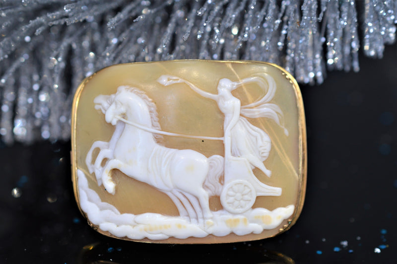 Rectangular Shell Cameo Brooch with Chariot