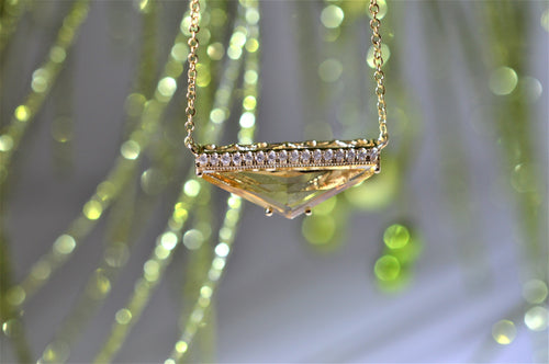 14K Diamond and Triangular Cut Citrine Necklace