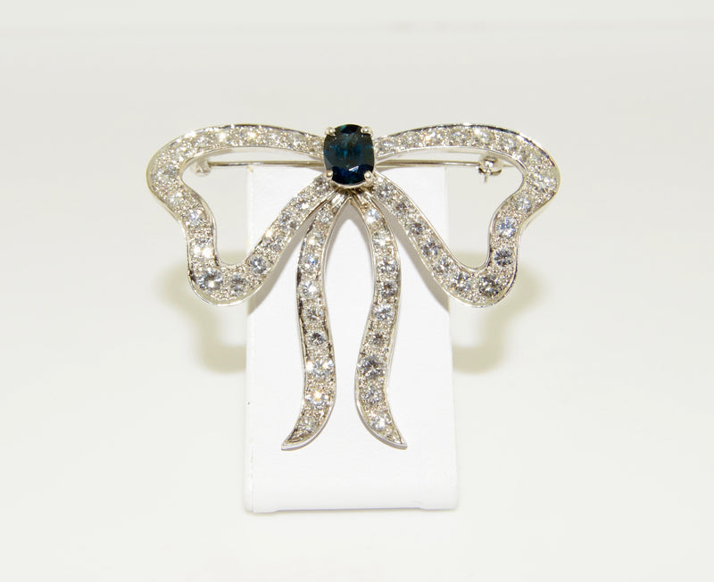 14K White Gold Diamond and Sapphire Bow Brooch