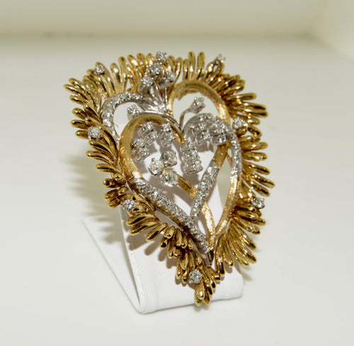 18K Two Tone Double Heart Pendant/Pin with Diamonds