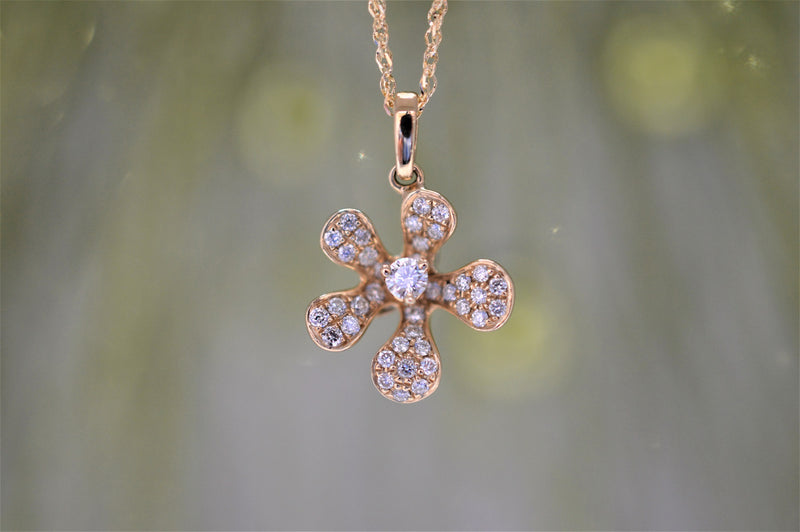 14K Diamond Plumeria Flower Pendant