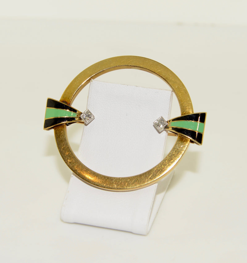 Diamond Yellow Gold Round Brooch with Enameling
