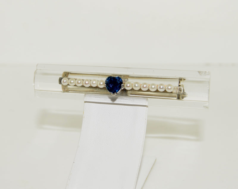 Pearl, Sapphire, and Lucite White Gold Brooch