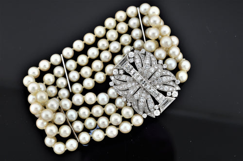 Platinum And 14K White Gold Art Deco Cultured Pearl Bracelet With A Diamond Clasp