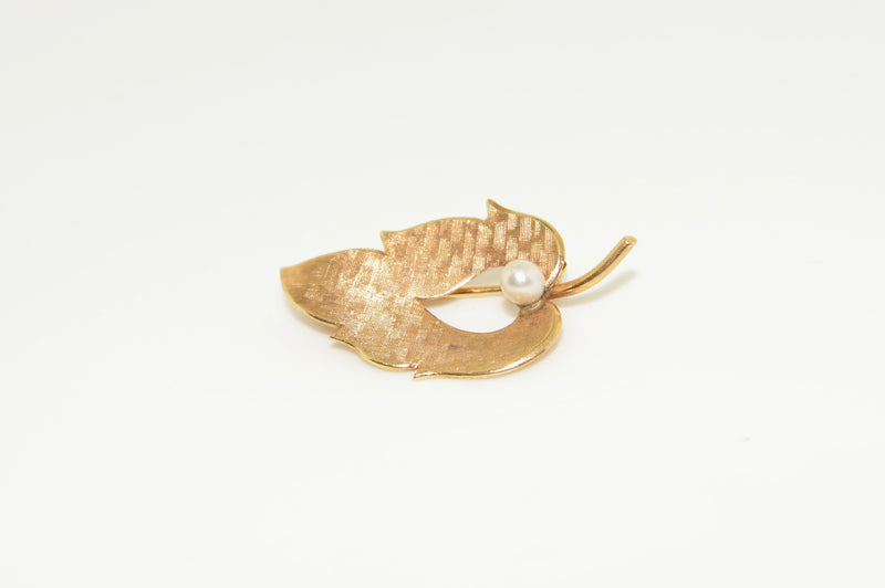 Gold Leaf Brooch with Pearl