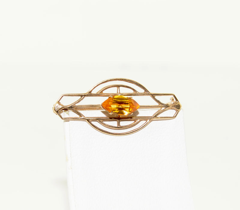 Citrine and Gold Geometric Brooch