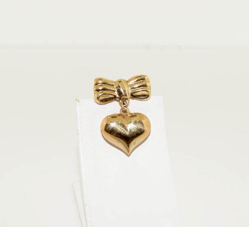 Gold Ribbon Brooch with Dangling Heart