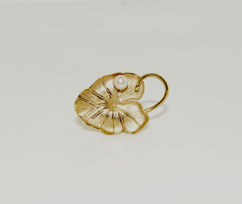 Gold Lily Pad Brooch with Pearl