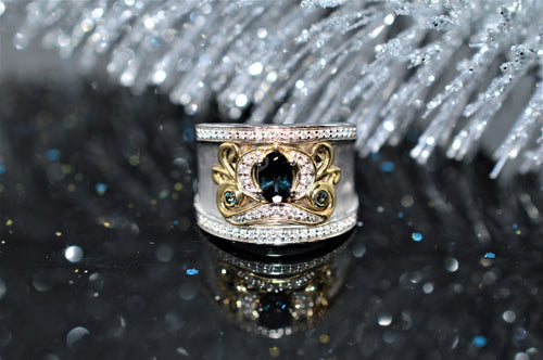14K Cinderella Carriage Diamond and Blue Topaz Ring