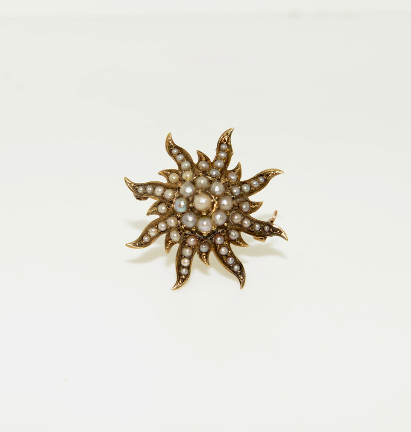 Antique Sunburst Brooch with Seed Pearls