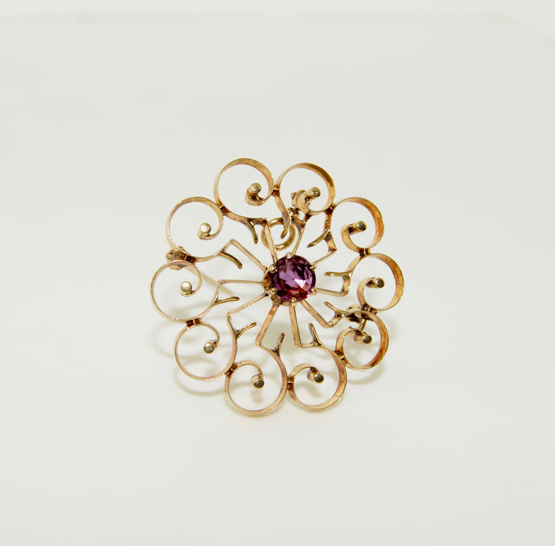Antique Gold Spiral Brooch/Pendant with Ruby