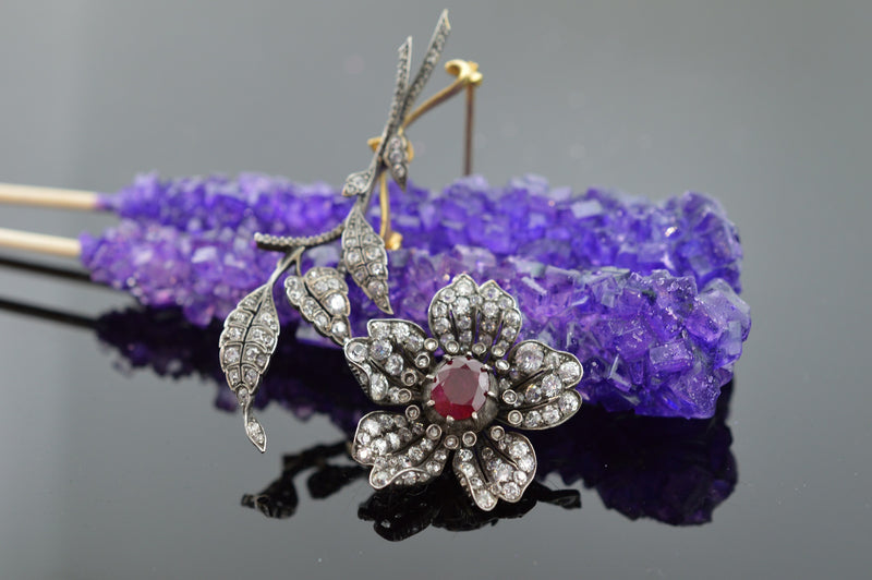 Silver Topped 14K Diamond and Ruby Flower Brooch