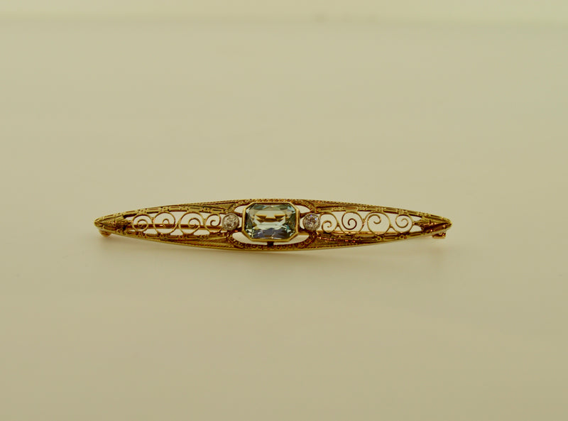 Vintage Aquamarine and Diamond Two Tone Brooch