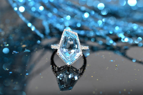 14K Geometric Cut Blue Topaz and Diamond Ring