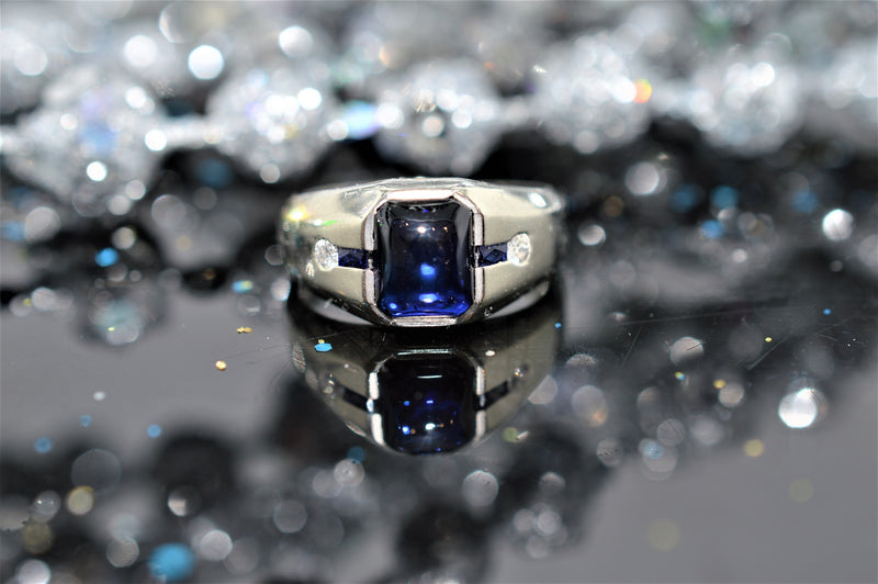 Sugarloaf Cabochon Sapphire and Diamond White Gold Ring